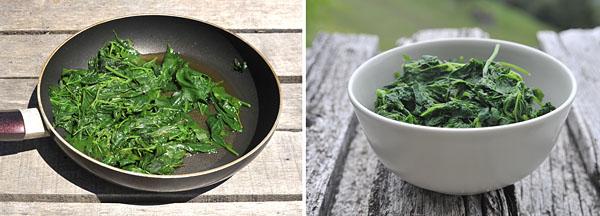 cottura spinaci selvatici in padella