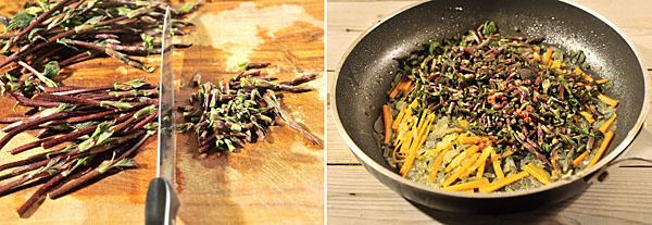 Fate appassire cipolle e carote, sminuzzate a aggiungete il luppolo a metà cottura